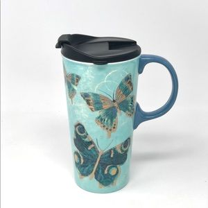 Cypress Home Butterfly Ceramic Travel Mug With Lid